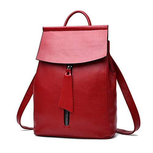 mode fonctions simple femelle bandoulière sac décontractée grande dos éclair Red sac double solide capacité Sac de fermeture scolaire Lady voyage xwgYnvXF