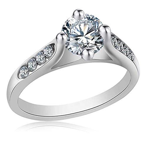 - Windoson Fashion Zircon Micro-Inlaid Lover Wedding Ring Platinum White Gold Ring Gift (7, Silver)