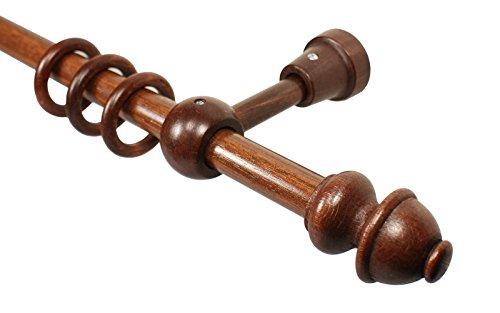 Gardinenstangen aus Holz in Nußbaum mit 20 mm Durchmesser Endstück Antik, 160 cm