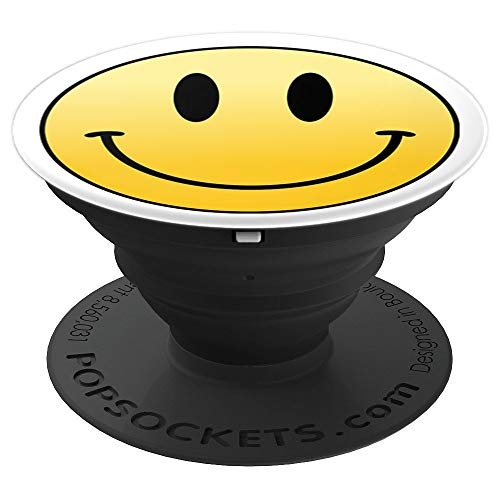Emoji R Us: Mr Happy Smiley Face Positive Cute - PopSockets Grip and Stand for Phones and Tablets -