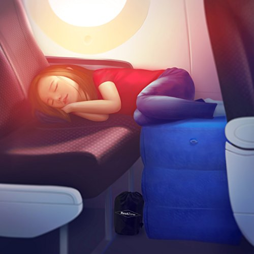 Price comparison product image Inflatable Air Travel Pillow for Leg Rest | Comfortable Footrest for Outdoors and Camping | Children and Kids to Sleep Soundly in Flight or Car by RestZone