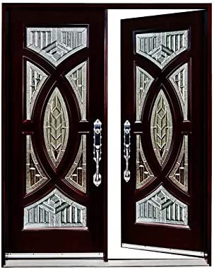 2 X36x80 Exterior Front Entry Door Finished Right Hand In Swing Prehung Double Door Wood Glass Exterior Doors Building Materials