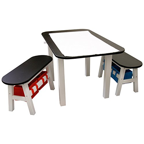 US Art Supply Children's Art & Drawing, Hobby & Play Table and Bench Chairs with Built-In Paper Roll Dispenser. Versatile Design Provides Seating for 4 Children