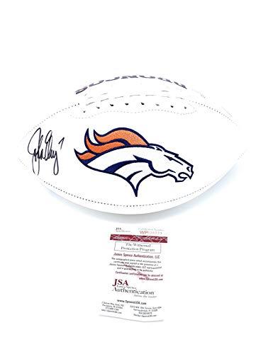 Denver Elway John Broncos (John Elway Denver Broncos Signed Autograph Embroidered Logo Football Elway Player Hologram JSA Witnessed Certified)