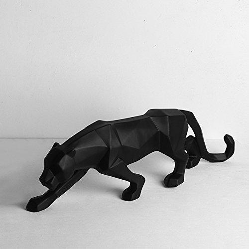Gongguan White Black Panther Sculpture,Mordern Abstract Resin Leopard...