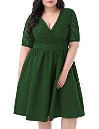 Women's Half Sleeves V-Neckline Lace Top Plus Size...