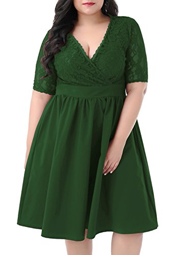 Nemidor Women's Half Sleeves V-Neckline Lace Top Plus Size Cocktail Party Swing Dress (Green, 22W)