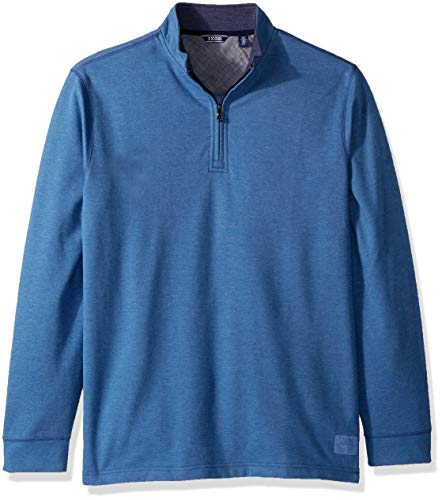 Fleece Mock Neck Pullover - IZOD Men's Nauset Button Mock Neck Light Fleece Pullover, New Federal Blue, Medium