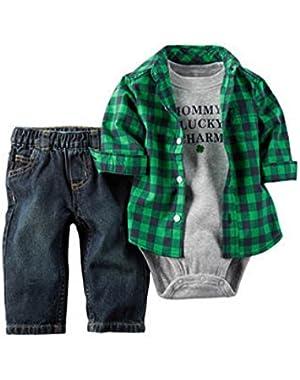 Carter's Baby Boy's St. Patrick's Day Jean Shirt 3 Piece Set