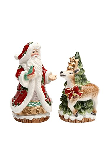 Cosmos Gifts 10568 Victorian Harvest Santa and Reindeer Salt and Pepper Set, (Holiday Santa Salt)