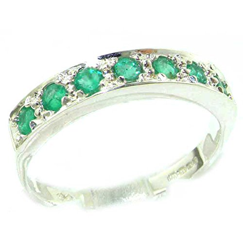 925 Sterling Silver Natural Emerald Womens Band Ring - Sizes 4 to 12 Available by LetsBuySilver