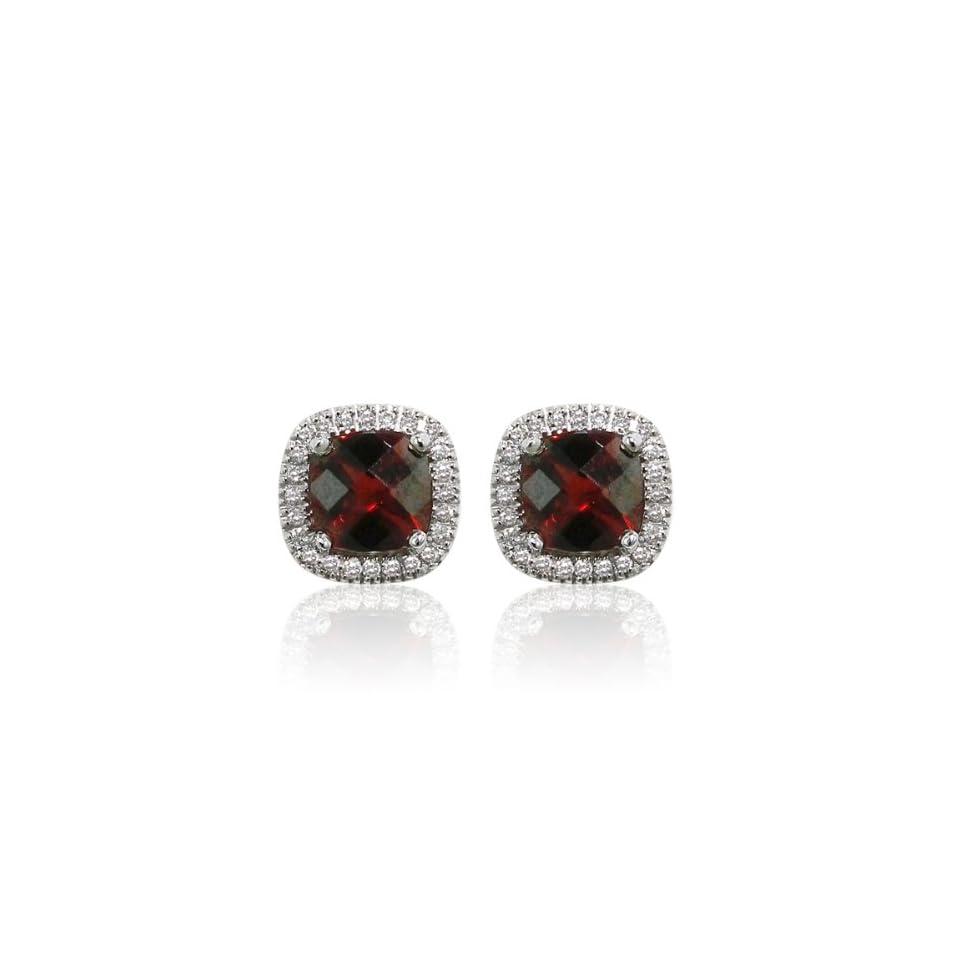 Effy Jewelers Effy 14K White Gold Garnet Diamond Earrings