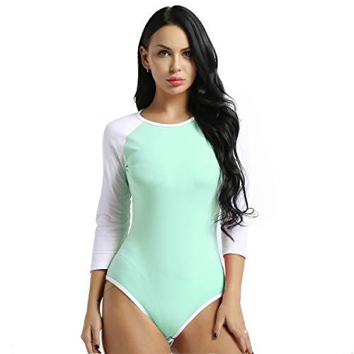 Cotton Teddies - inlzdz Women's Adult Baby Cotton Leotard Tops Diaper Lover ABDL Snap Crotch Romper Bodysuit Light Green Medium