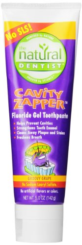 The Natural Dentist Cavity Zapper Fluoride Gel Toothpaste for kids helps prevent cavities, strengthens tooth enamel, cleans away plaque and stains, 5 oz