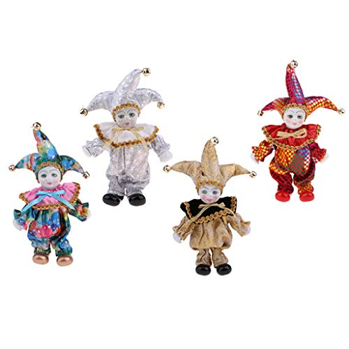 Porcelain Clown Doll Sweet Triangel Figures Model Festival Gift Home Office Desk Display Decoration, Golden & Silver & Red & Colorful Color -