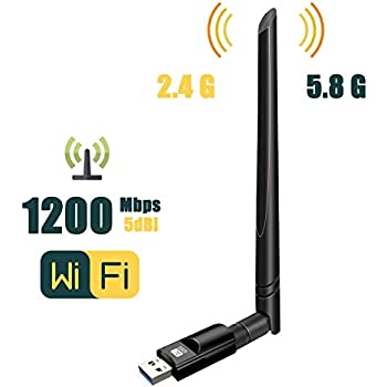 ... 802.11 ac Wireless Network Adapter with Dual Band 2.4GHz/300Mbps+5GHz/866Mbps 5dBi High Gain Antenna for Desktop Windows XP/Vista/7/8/10 Linux Mac