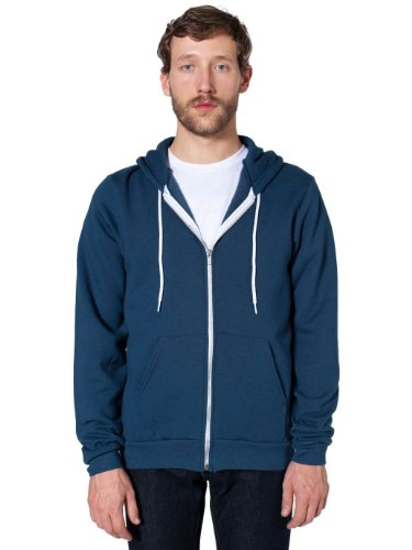 American Apparel Unisex Flex Fleece Zip Hoodie Blue Large by American Apparel