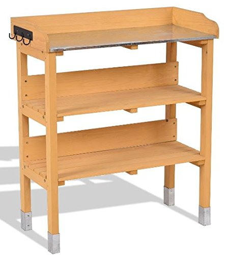 K&A Company Garden Wooden Potting Bench 3 Hooks 3 Tiers Rack Outdoor Plant Table Stand Planting Workstation by K&A Company
