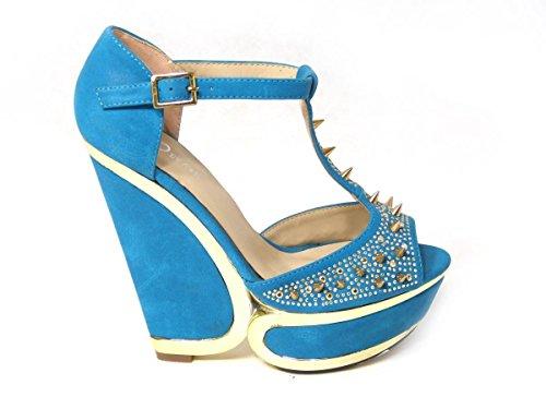 Wedding SKO'S Shoes Prom 01 Platform Evening Womens Wedge Bridal High Heel Ladies 9867 Blue Size EZUqxwB