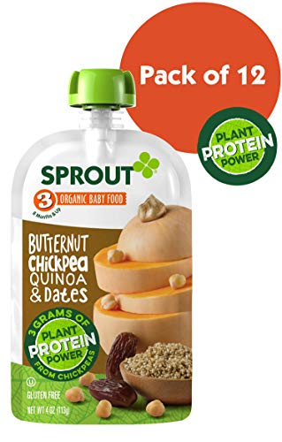 Sprout Organic Stage 3 Baby Food Pouches with Plant Powered Protein, Butternut Chickpea Quinoa & Dates, 4 Ounce (Pack of - Food Dessert Baby