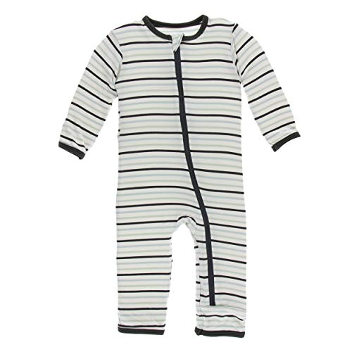 Kickee Pants Little Boys Print Coverall with Zipper - Tuscan Afternoon Stripe, ()