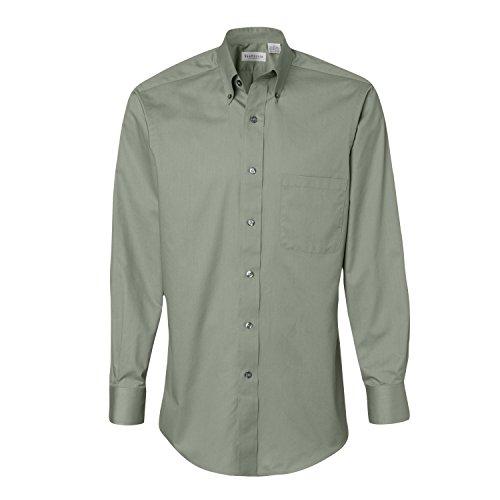 Van Heusen Mens Long Sleeve Button Down Baby Twill Dress Shirt - Colors (L, (Twill Sage)
