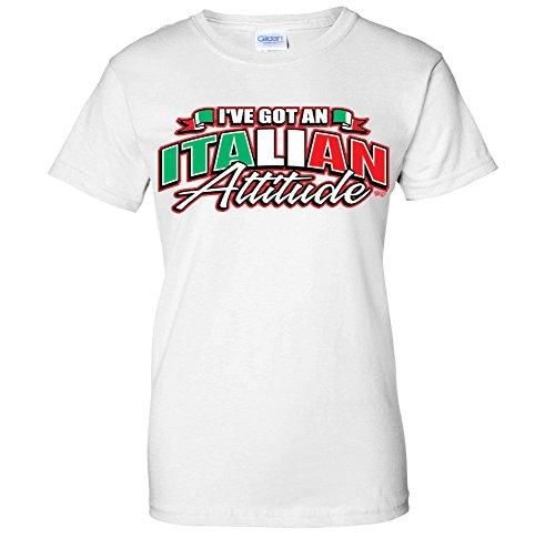 I've Got An Italian Attitude -Waving Italy Flag Pride WOMENS T-Shirt (XL White)
