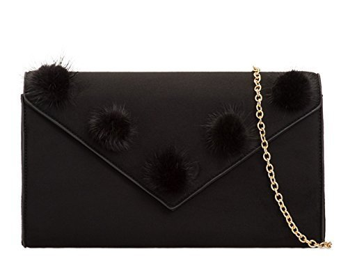 Faux Envelope I49 Occasion Fur Hand Bags Evening Black Party Foldover Prom Clutch Ladies Womens Dressy Suede RXqwnx565