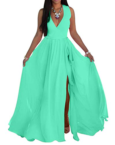 (SheKiss Womens Sexy V-Neck Chiffon Long Maxi Dresses Sleeveless Split Beach Bridesmaid Flowy Sundress Cyan)