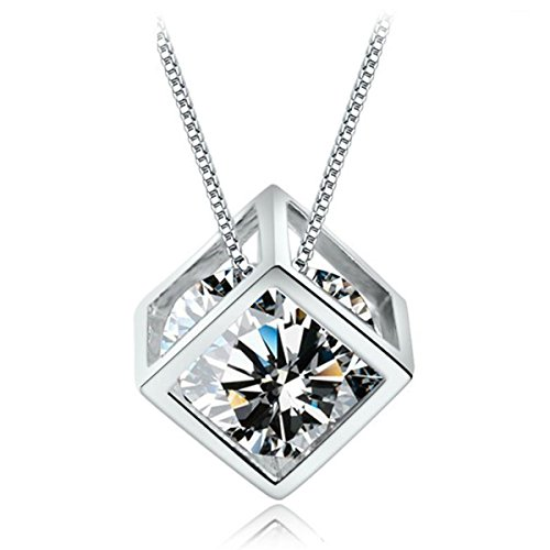 (CAT EYE JEWELS S925 Sterling Silver Pendant Necklace,Square Cube Clear Cubic Zirconia Diamond Jewelry for Women Girl SN004)