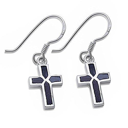 Dangle Style Black Onyx Cross .925 Sterling Silver Dangle drop Earrings