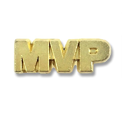- Awards and Gifts R Us 3/4 Inch MVP Chenille Gold Lapel Pin - Package of 20, Poly Bagged