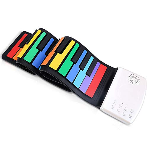 VAlinks Silicone Roll Up Piano,Multifunctional 49 Keys Flexible Electric Piano Rechargeable with Buil-in Speaker & 47 Tones for Educational Toy Christams Gifts