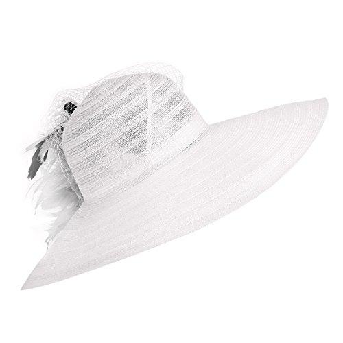 Womens Dress Church Kentucky Derby Wide Brim Feather Wedding Veil Sun Hat A265 (White)