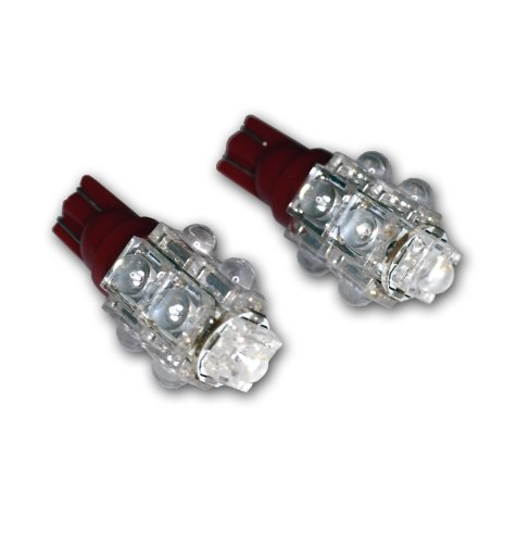 Pontiac Glove Box - TuningPros LEDGB-T10-R9 Glove Box LED Light Bulbs T10 Wedge, 9 Flux LED Red 2-pc Set