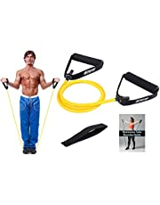 Resistance Band With Handles & Door Anchor | Resistance Tube For Strength Training & Physiotherapy | Free PDF Exercise Guide