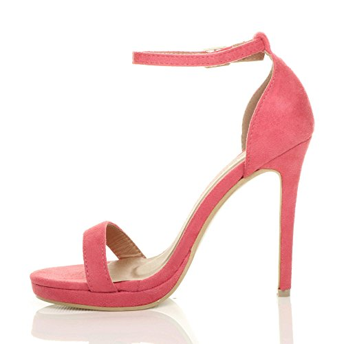 Coral Sandals Barely Suede Women High There Heel Ajvani Size SFzwx