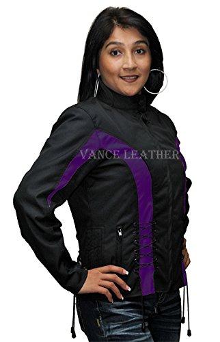 Ladies Textile Crystal Jacket Black and - Biker Textile Womens Jacket