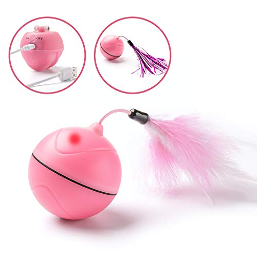 Pikaon Interactive Pet Cat Exercise Toy Ball with Automatic Rolling 360 Degree Rotation, Lights and Detachable Feather by Pikaon