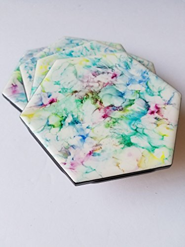 Unique modern abstract hand painted with alcohol ink decorative hexagon ceramic tile coaster set of 4. (Ink Tiles)