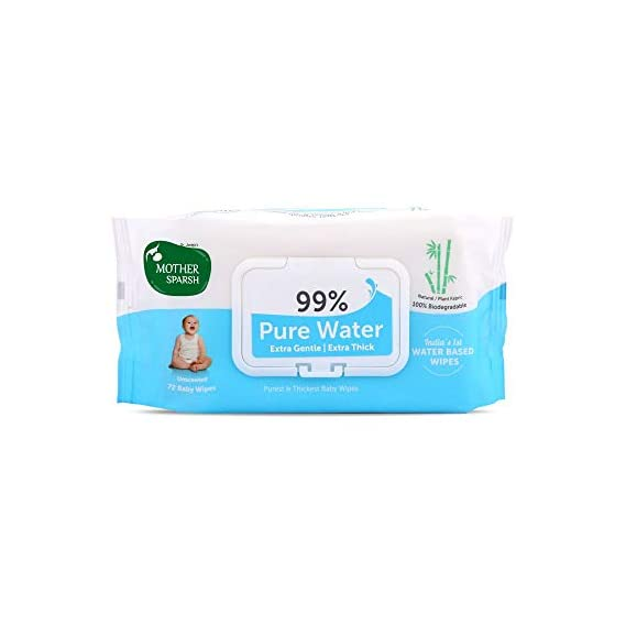 Mother Sparsh 99% Pure Water (Unscented) Baby Wipes (72 Unscented Baby Wipes) - Super Thick Fabric