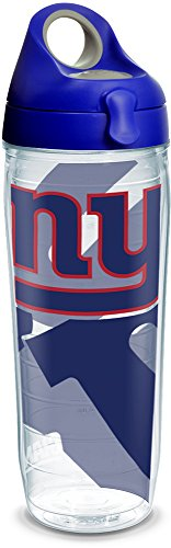 Tervis 1292587 NFL New York Giants Insulated Tumbler with Wrap and Blue with Gray Lid, 24 oz Water Bottle, Clear