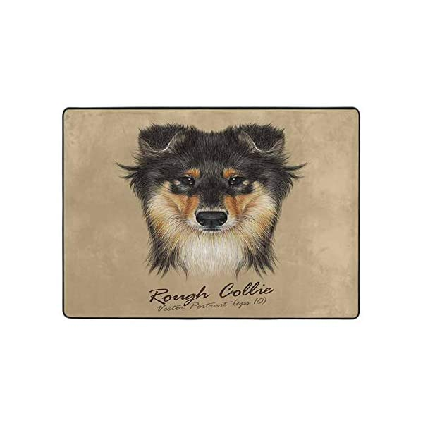 Floor mats for Kids Collie Dog Animal Cute face. Vector Mahogany Sable Rough Collie Puppy Head Portrait. 63 x 48 in Rugs for Kitchen Floor 2