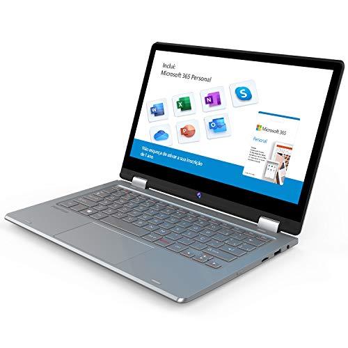 "Notebook 2 em 1 Positivo Duo C4128C Intel Celeron 4GB 128GB 11.6"" IPS Full HD touch Windows 10 Home, Cinza - Inclui Microsoft 365 Personal por 1 ano"