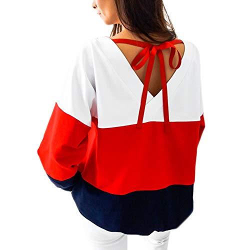581f14ca8f5f34 Elegante A Senza shirt Splcing Colore Lunga T Moda Patchwork Rosso Tumblr  Lace Inverno Oversize Donna Girocollo Pullover Sciolto Blusa Felpa Up  Autunno ...