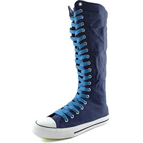 Dailyshoes Damesschoenen Middenkuit Lange Laarzen Casual Sneaker Punk Flat, Klassiek Blauwe Marineblauwe Laarzen, Klassiek Blauw Kant