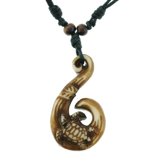 Turtle and Fish Hook Style Resin Pendant Necklace - 2x1.25'' Pendant, Adjustable 18 to 24'' Necklace