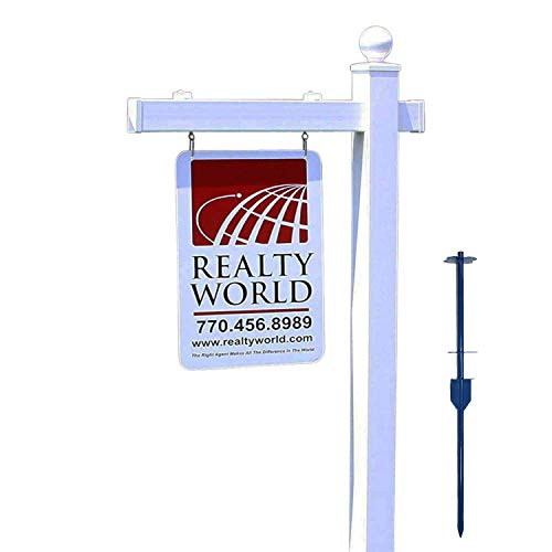 4EVER Vinyl PVC Real Estate Sign Post - White with Ball Cap