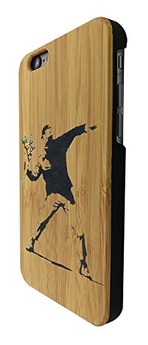 C0071 - Banksy Graffiti Art Flower Thrower Design iphone SE - 2016 / iphone 5 5S Natural Holz Real Wood Hülle Case Cover