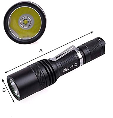 WindFire F17 2000 Lumen 5 Modes Cree T6 XM-L U2 L2 Led Waterproof Flashlight Camping Spotlight 18650 Rechargeable Torch Spot Flash Light Lamp With Clip and Lanyard Strip for Hiking Biking Fishing and Outdoor Sports Indoor Activities (No Battery)